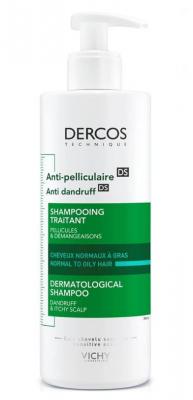 Шампунь-уход против перхоти для жирной кожи головы VICHY Dercos Anti-Dandruff Normal to Oily Hair 390мл: фото