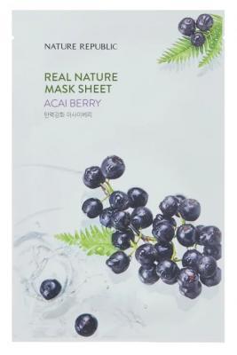 Маска тканевая с ягодами асаи NATURE REPUBLIC REAL NATURE ACAI BERRY MASK SHEET 23г: фото