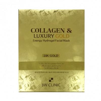 Маска гидрогелевая с золотом 3W CLINIC Collagen & Luxury Gold Energy Hydrogel Facial Mask 30г: фото