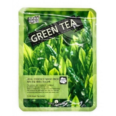 Маска тканевая с зеленым чаем May Island Real Essense Green Tea Mask Pack 25мл: фото