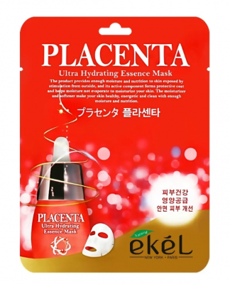 Тканевая маска для лица с экстрактом плаценты EKEL Placenta Ultra Hydrating Essence Mask 25г: фото