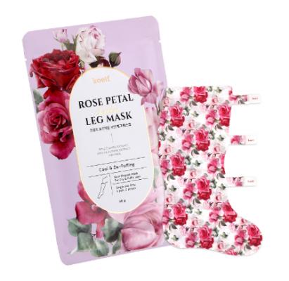 Набор масок-носочков для ног РОЗА KOELF Rose Petal Satin Leg Mask 40г*5шт: фото