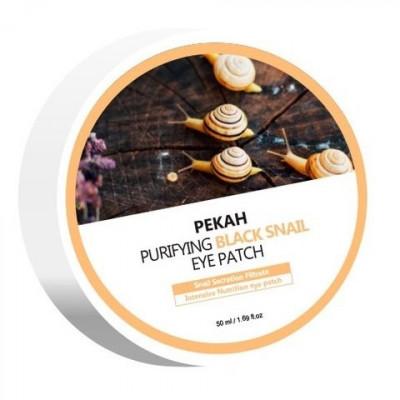 Патчи для глаз омолаживающие с муцином черной улитки Pekah Purifying black snail eye patch 60шт: фото