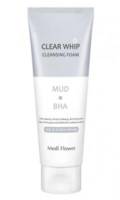 Пенка для умывания с белой глиной и BHA кислотами MediFlower Mud clear whip cleansing foam 120мл: фото