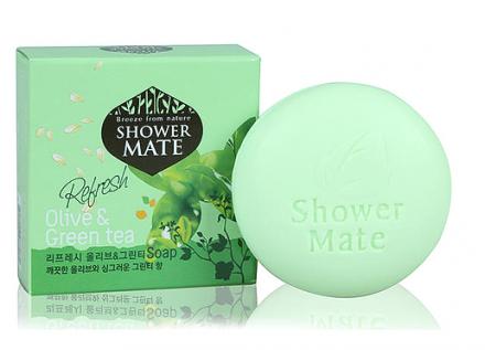 Мыло косметическое Оливки и зеленый чай KeraSys Shower mate 100г: фото